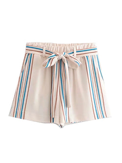 'Ana' Striped Tied Front Elastic Waistband Short