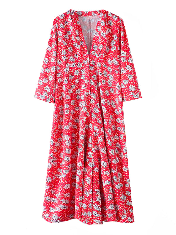 'Josie' V-neck Floral Midi Dress