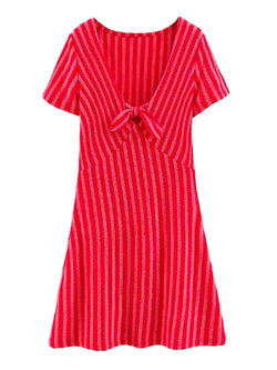 'May' Front Tied Striped Mini Dress
