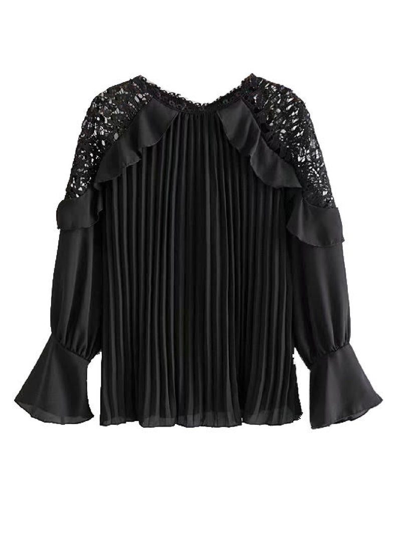'Nevaeh' Lace Shoulder Sheer Blouse