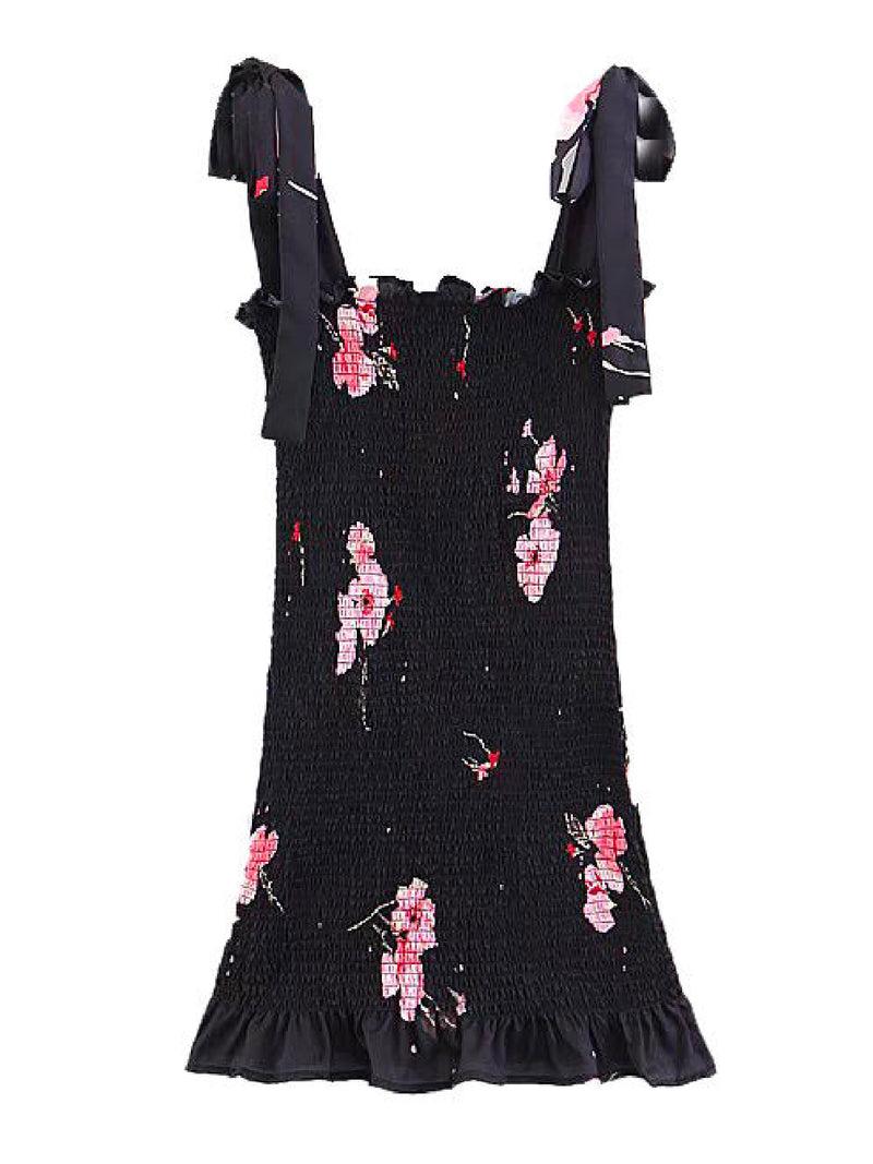 'Adeline' Floral Ruched Tied Strap Mini Dress