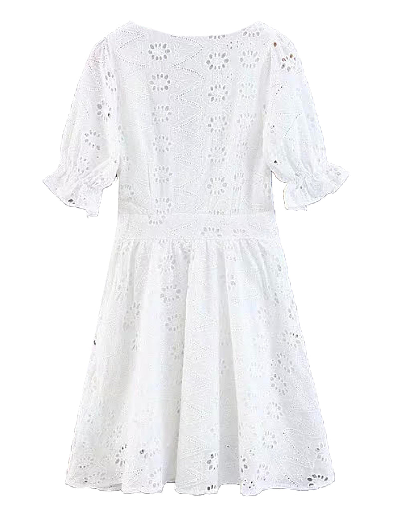 'Emilia' Eyelet V-neck Mini Dress