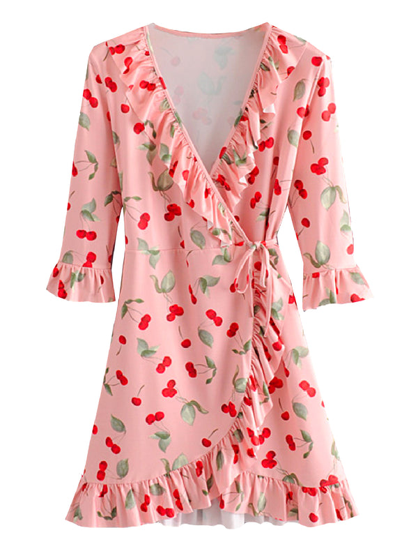 'Ryleigh' Cherry Ruffled Wrap Dress