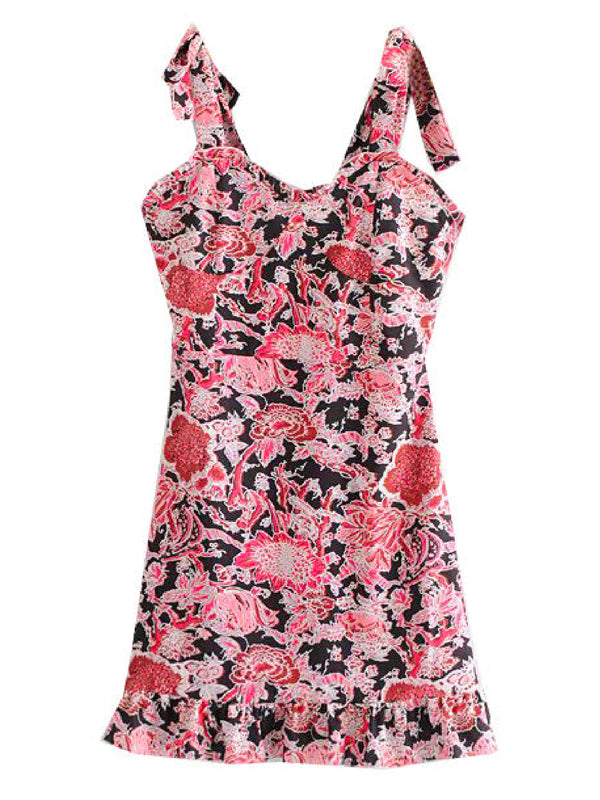 'Faith' Floral Tied Strap Mini Dress