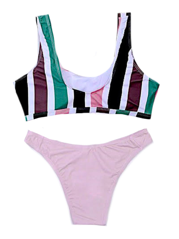 'Jocelyn' Pink Striped Bikini