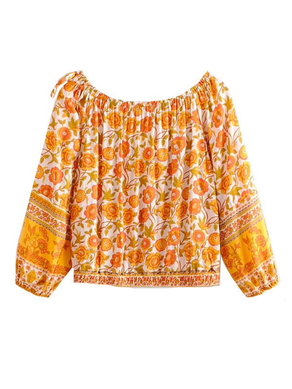 'Parker' Yellow Floral Off The Shoulder Top