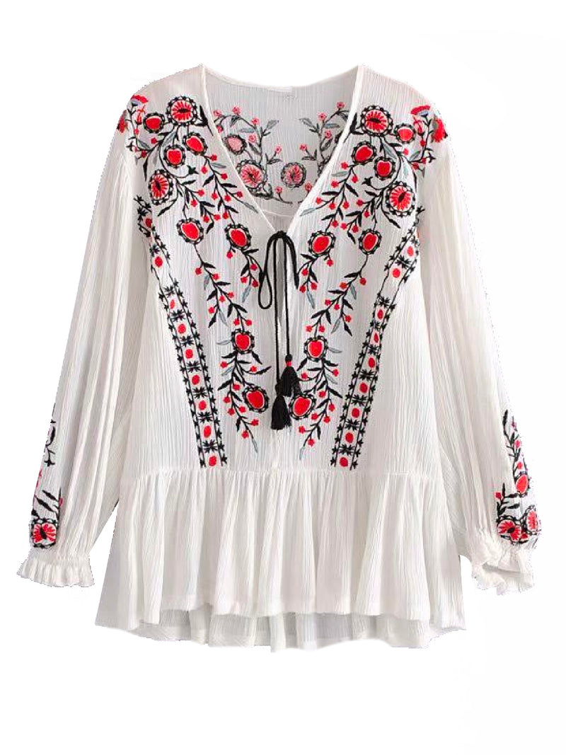 'Finley' Bohemian Embroidered Frilled Mini Dress