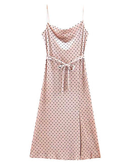 'Clementine' Polka Dot Split Strapped Midi Dress