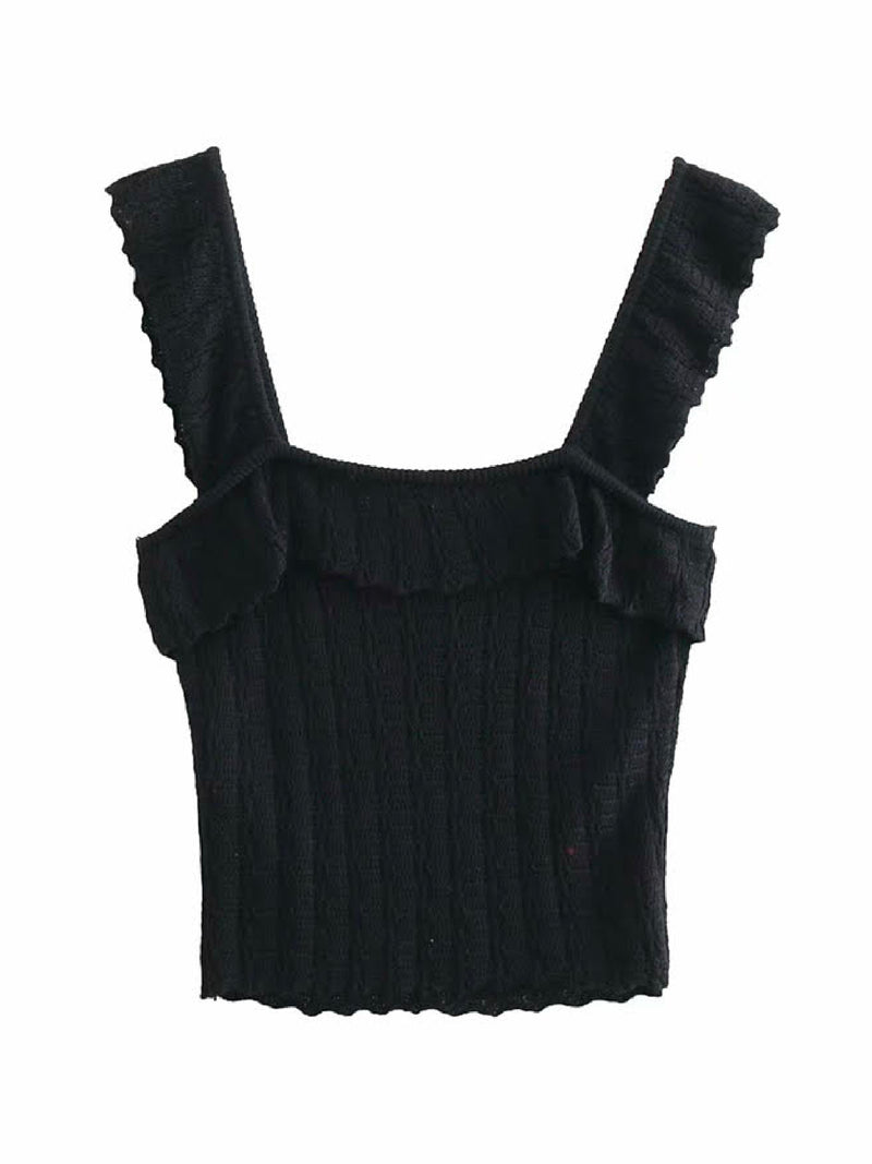 'Arianna' Ruffled Knit Crop Top