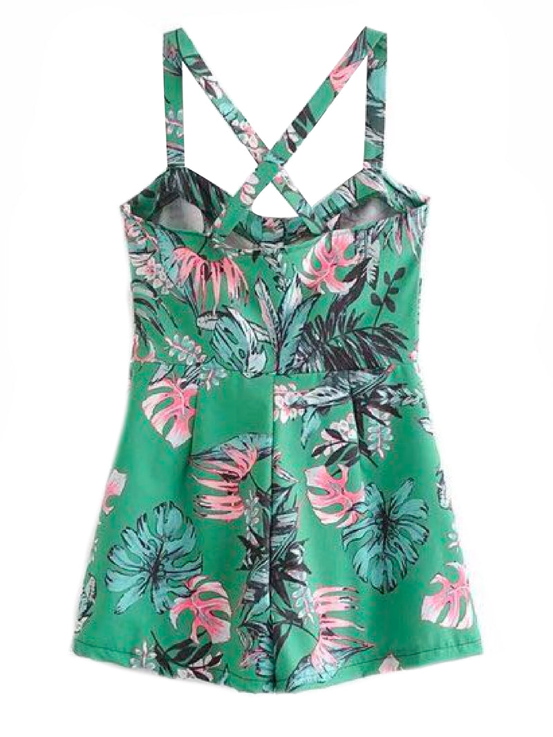 'Shantel' Crossed Back Green Floral Print Overall Romper Back Goodnight Macaroon