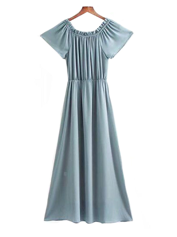 Goodnight Macaroon 'Elah' Off The Shoulder Chiffon Maxi Dress Back