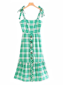 'Galia' Buttoned Green Gingham Sleeveless Shoulder Strap Dress Front Goodnight Macaroon