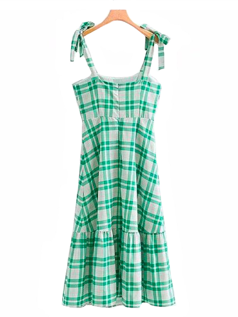 'Galia' Buttoned Green Gingham Sleeveless Shoulder Strap Dress Back Goodnight Macaroon