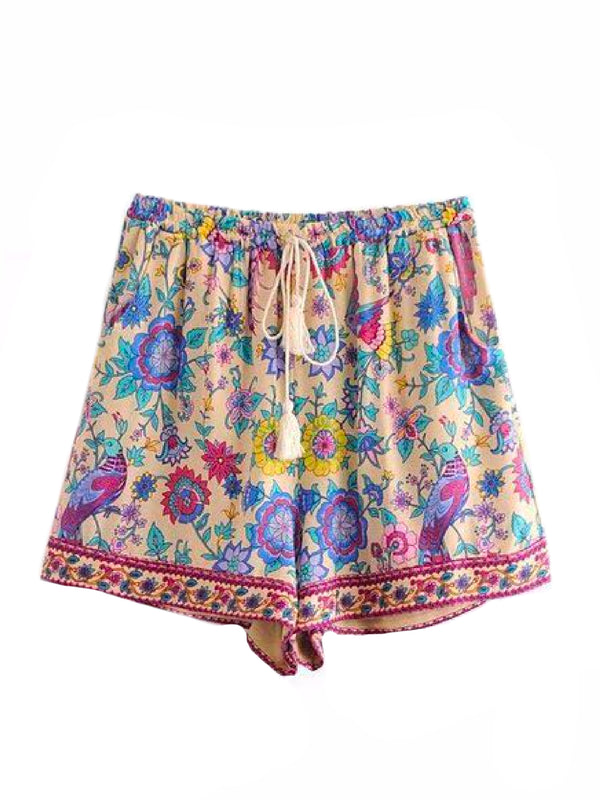 'Winona' Boho Floral Print Drawstring Shorts Goodnight Macaroon Yellow Front