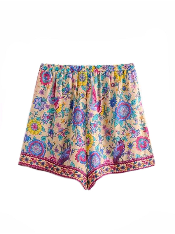 'Winona' Boho Floral Print Drawstring Shorts Goodnight Macaroon Yellow Back