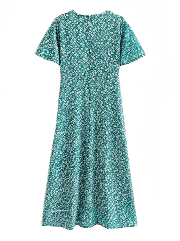 'Qiana' Forest Green Floral Print Front Split V-neck Midi Dress Back Goodnight Macaroon