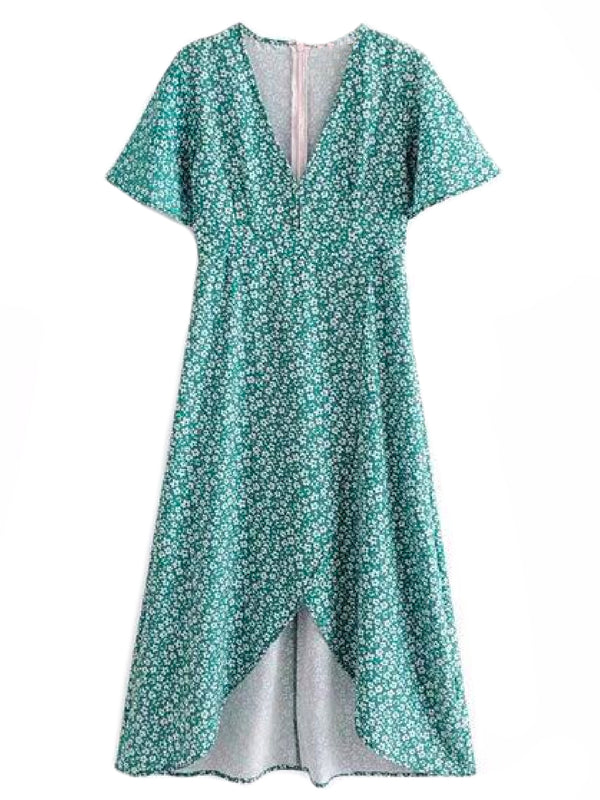 'Qiana' Forest Green Floral Print Front Split V-neck Midi Dress Front Goodnight Macaroon