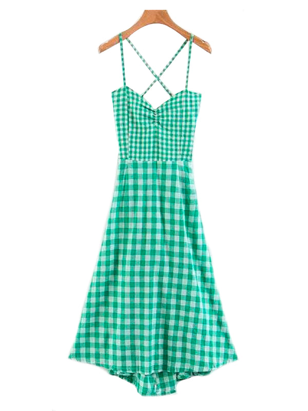 'Edith' Gingham Spaghetti Strap Empire Dress Green Front Goodnight Macaroon