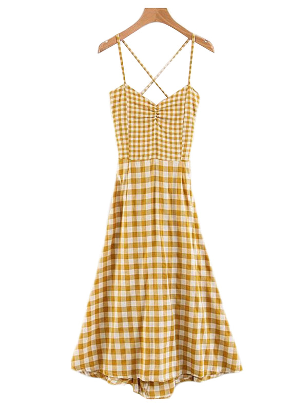 'Edith' Gingham Spaghetti Strap Empire Dress Yellow Front Goodnight Macaroon