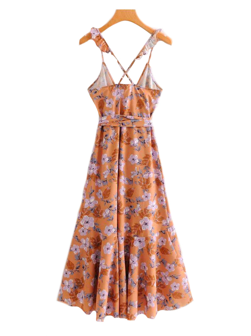 'Harmony' Floral Print Frilly Cross Back Strap Wrap Dress Back Goodnight Macaroon