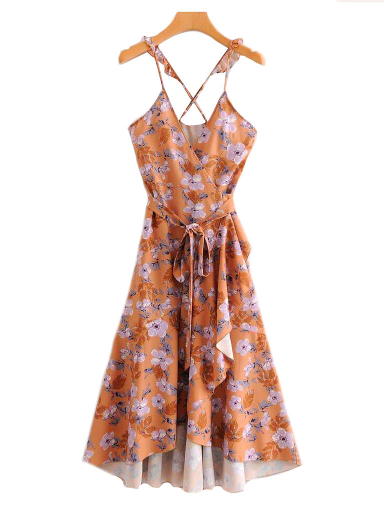 'Harmony' Floral Print Frilly Cross Back Strap Wrap Dress Front Goodnight Macaroon