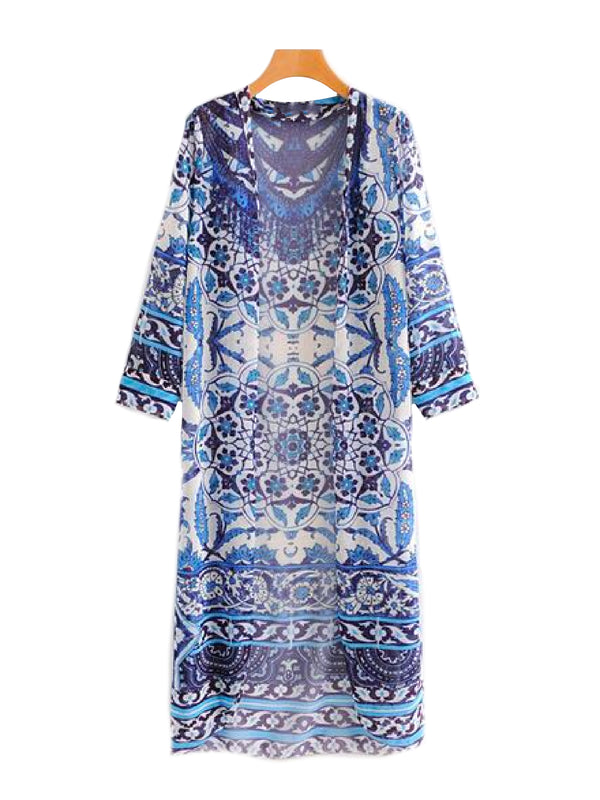 'Fabienne' Paisley Print Open Front Boho Kimono Front Goodnight Macaroon