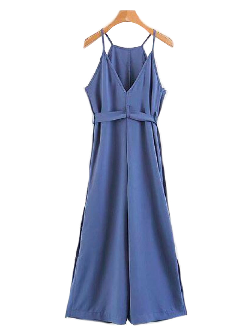 'Perla' Shoulder Strap Waist Tied Sleeveless Jumpsuit Blue Back Goodnight Macaroon