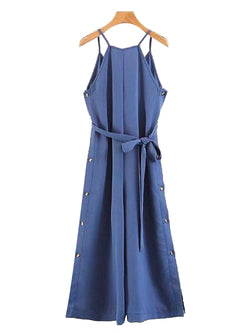 'Perla' Shoulder Strap Waist Tied Sleeveless Jumpsuit Blue Front Goodnight Macaroon