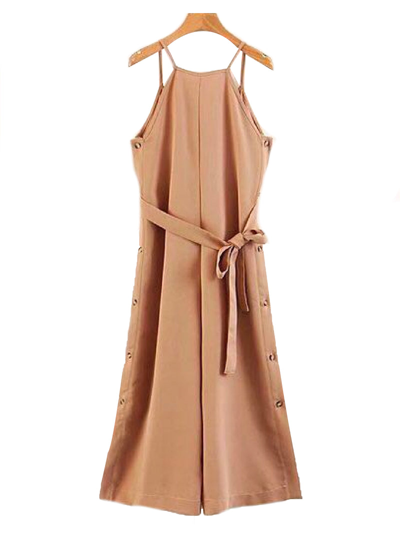 'Perla' Shoulder Strap Waist Tied Sleeveless Jumpsuit Khaki Front Goodnight Macaroon