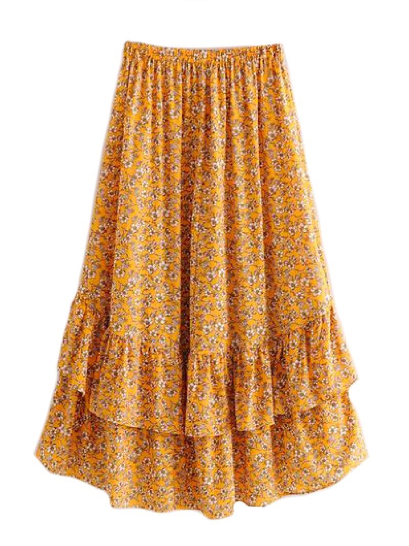'Inna' Yellow Floral Print Softly Pleated Dual Ruffle Midi Skirt Yellow Back Goodnight Macaroon