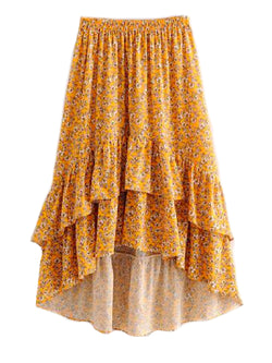 'Inna' Yellow Floral Print Softly Pleated Dual Ruffle Midi Skirt Yellow Front Goodnight Macaroon