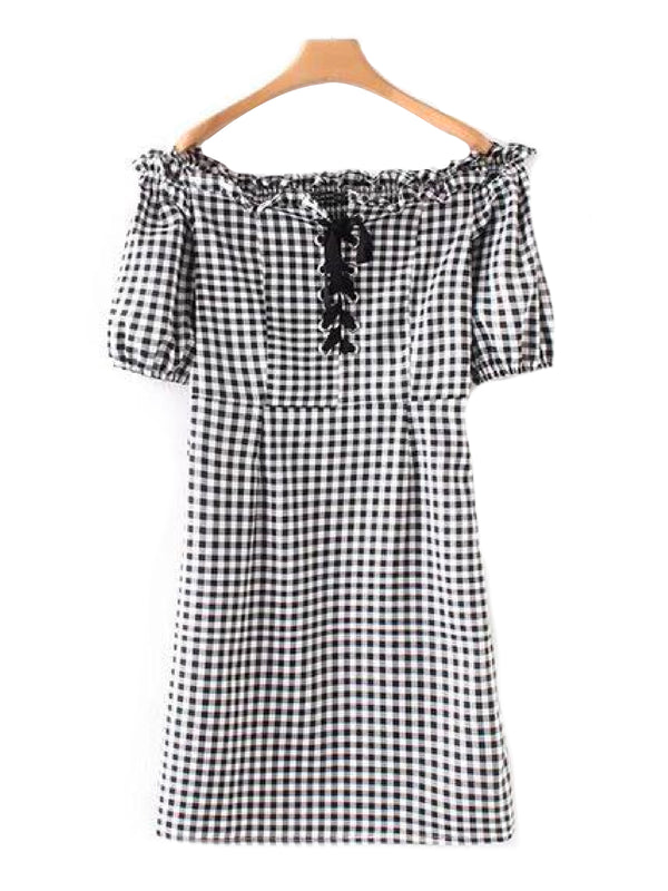 'Rae' Black and White Gingham Lace-Up Off the Shoulder Mini Dress Front Goodnight Macaroon
