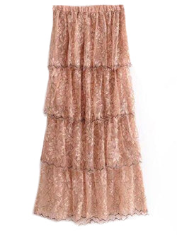 'Cassandra' Pink Lace Peony Floral Pattern Layered Maxi Skirt Front Goodnight Macaroon