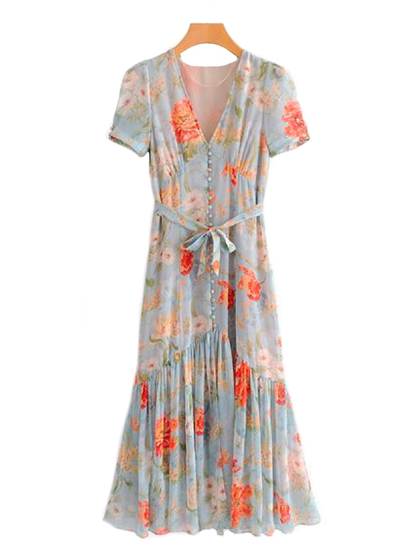 'Maddie' Button and Tie Wild Floral Print Maxi Dress Front Goodnight Macaroon