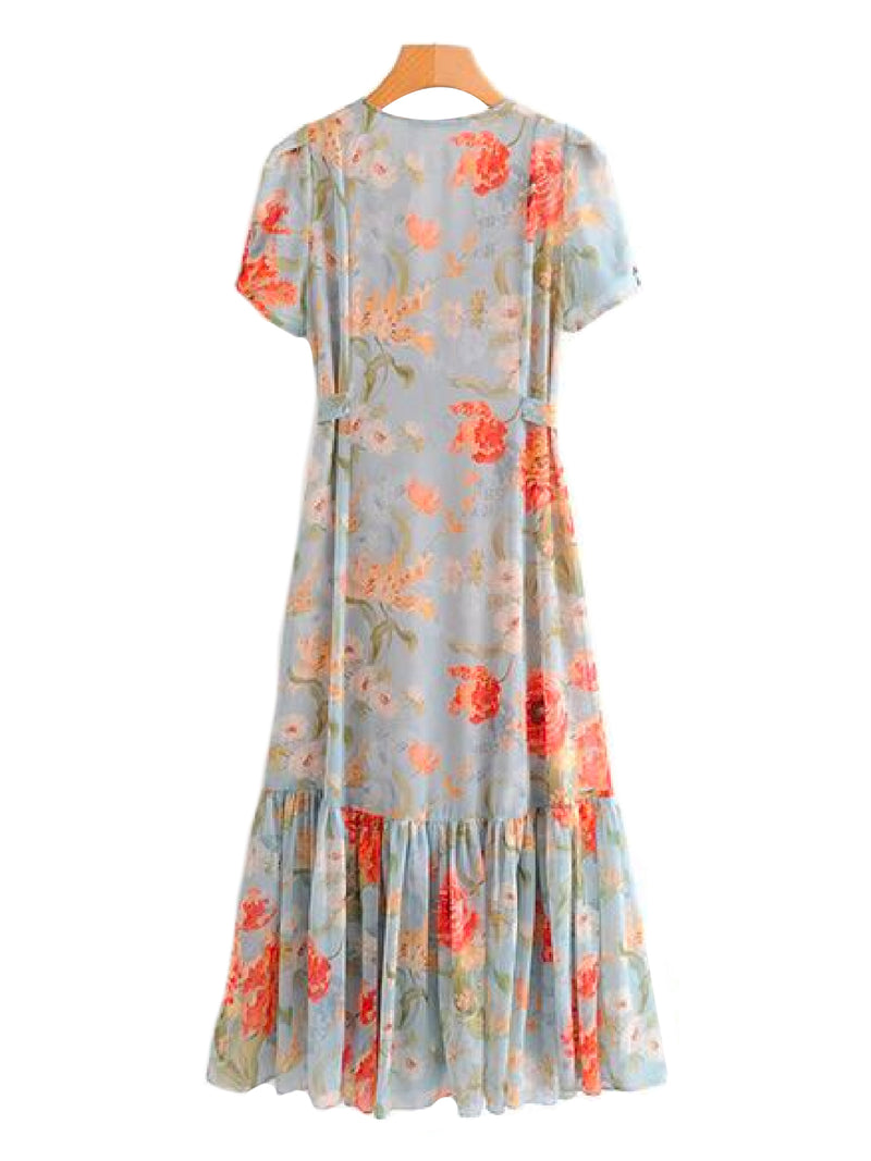 'Maddie' Button and Tie Wild Floral Print Maxi Dress Back Goodnight Macaroon