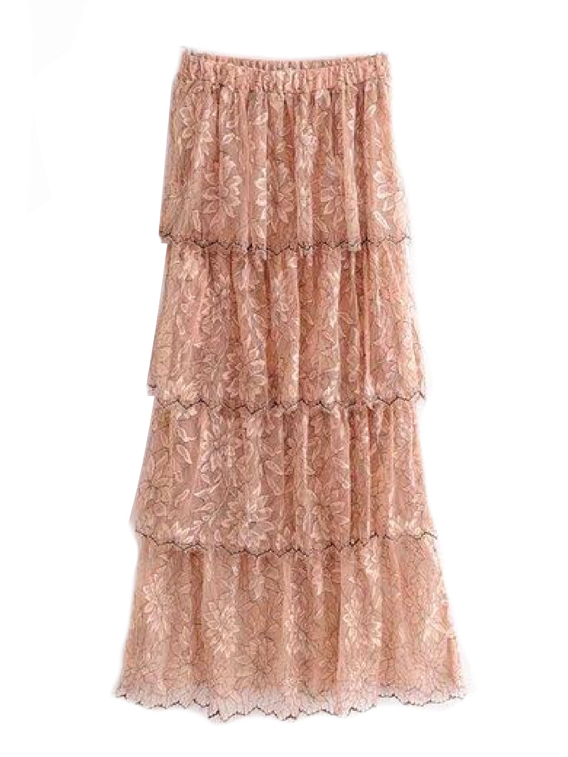 'Cassandra' Pink Lace Peony Floral Pattern Layered Maxi Skirt Back Goodnight Macaroon