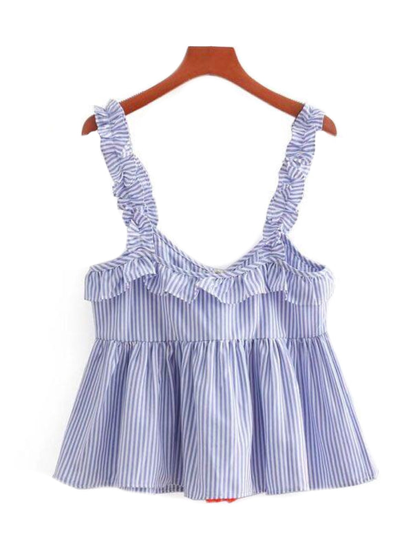 'Opal' Tassel and Pom Pom Frilly Shoulder Strap Striped Peplum Top Back Goodnight Macaroon