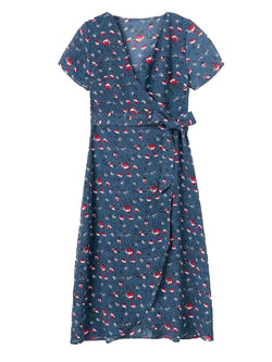 'Devon' Floral Print Wrap Dress Front Goodnight Macaroon