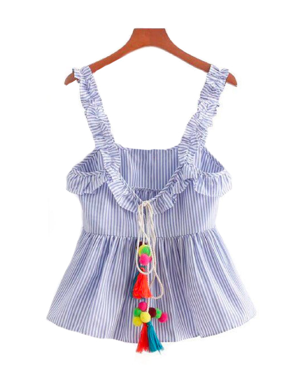 'Opal' Tassel and Pom Pom Frilly Shoulder Strap Striped Peplum Top Front Goodnight Macaroon