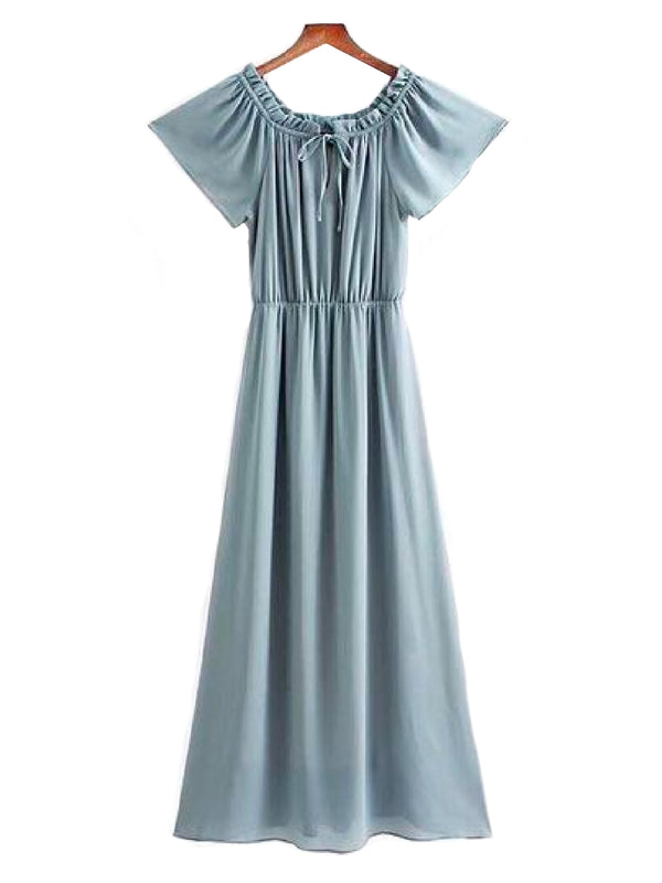 Goodnight Macaroon 'Elah' Off The Shoulder Chiffon Maxi Dress Front