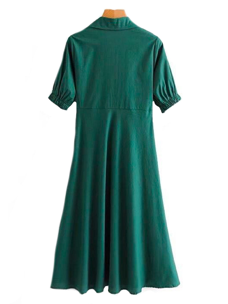 Goodnight Macaroon 'Gamila' Emerald Green Front Tied Midi Dress Back
