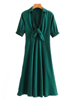 Goodnight Macaroon 'Gamila' Emerald Green Front Tied Midi Dress Front