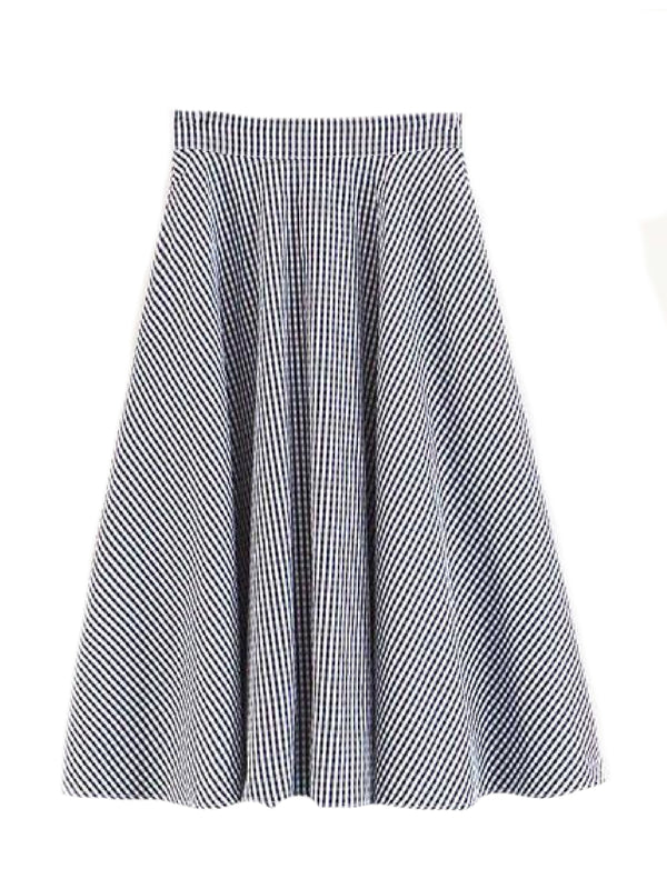Goodnight Macaroon 'Cara' Gingham Flared Skirt Front