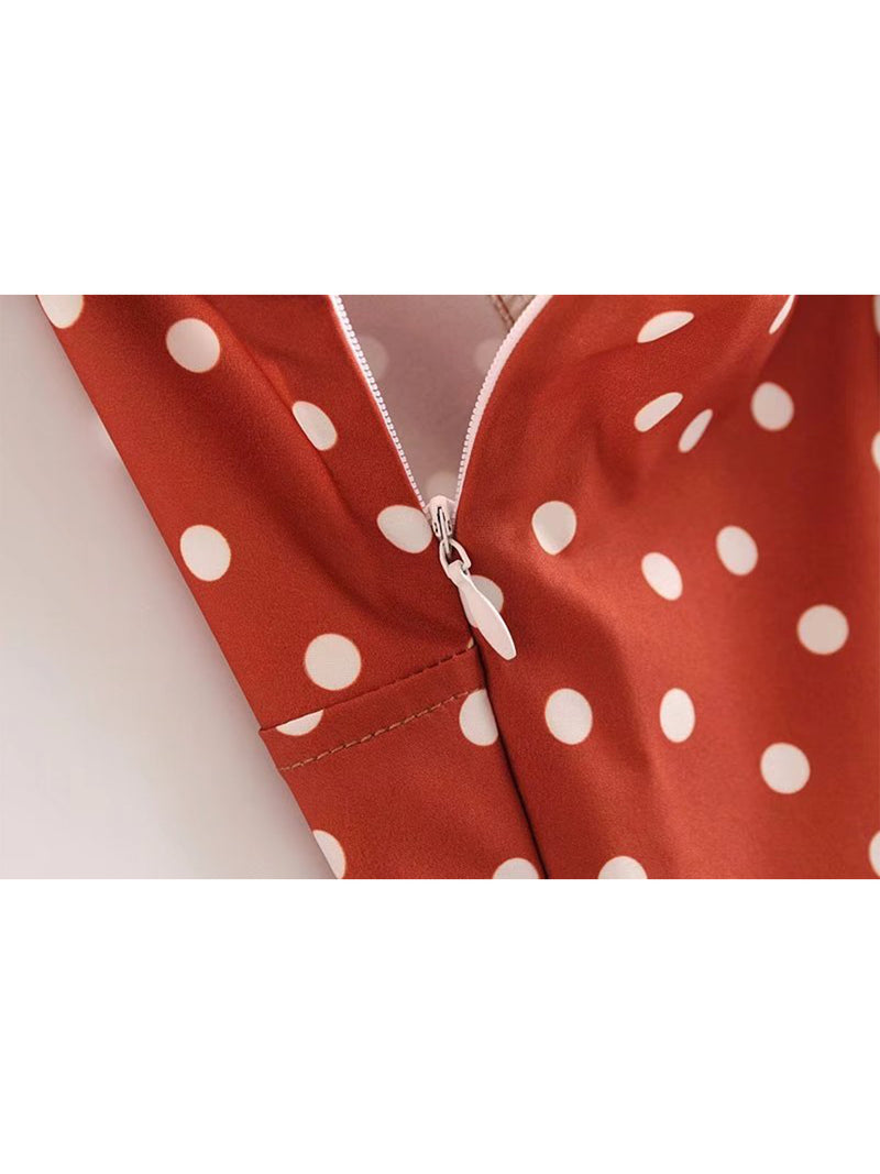 'Shantel' Crossed Back Brick Red Polka Dot Print Overall Romper Zipper Goodnight Macaroon