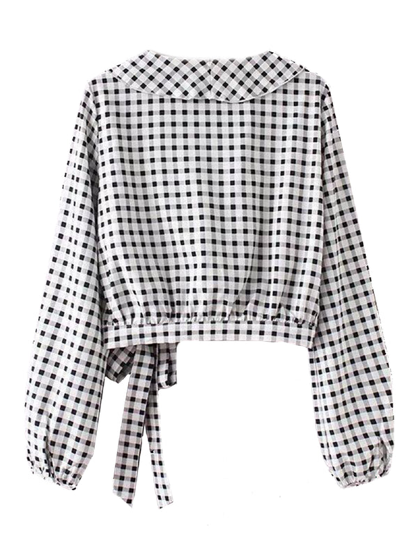Goodnight Macaroon 'Kaira' Ruffle Lapel Wrap Gingham Shirt Back