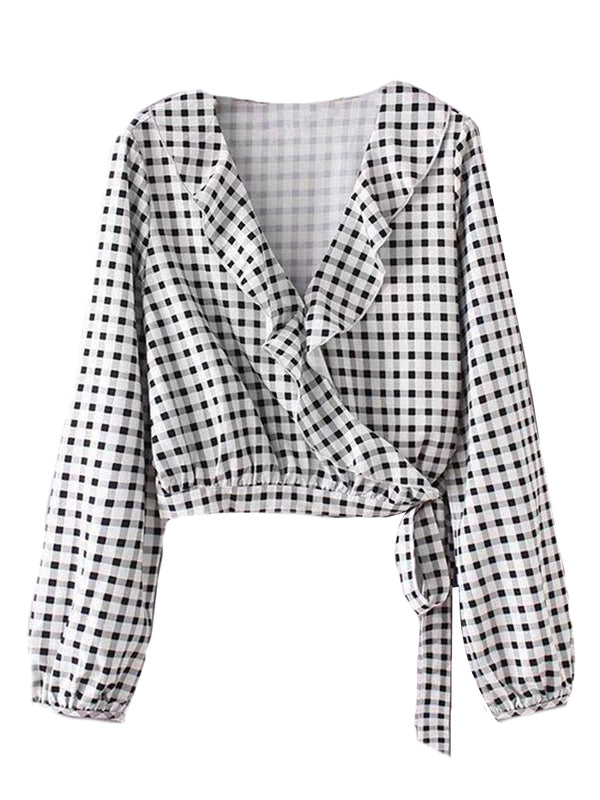Goodnight Macaroon 'Kaira' Ruffle Lapel Wrap Gingham Shirt Front