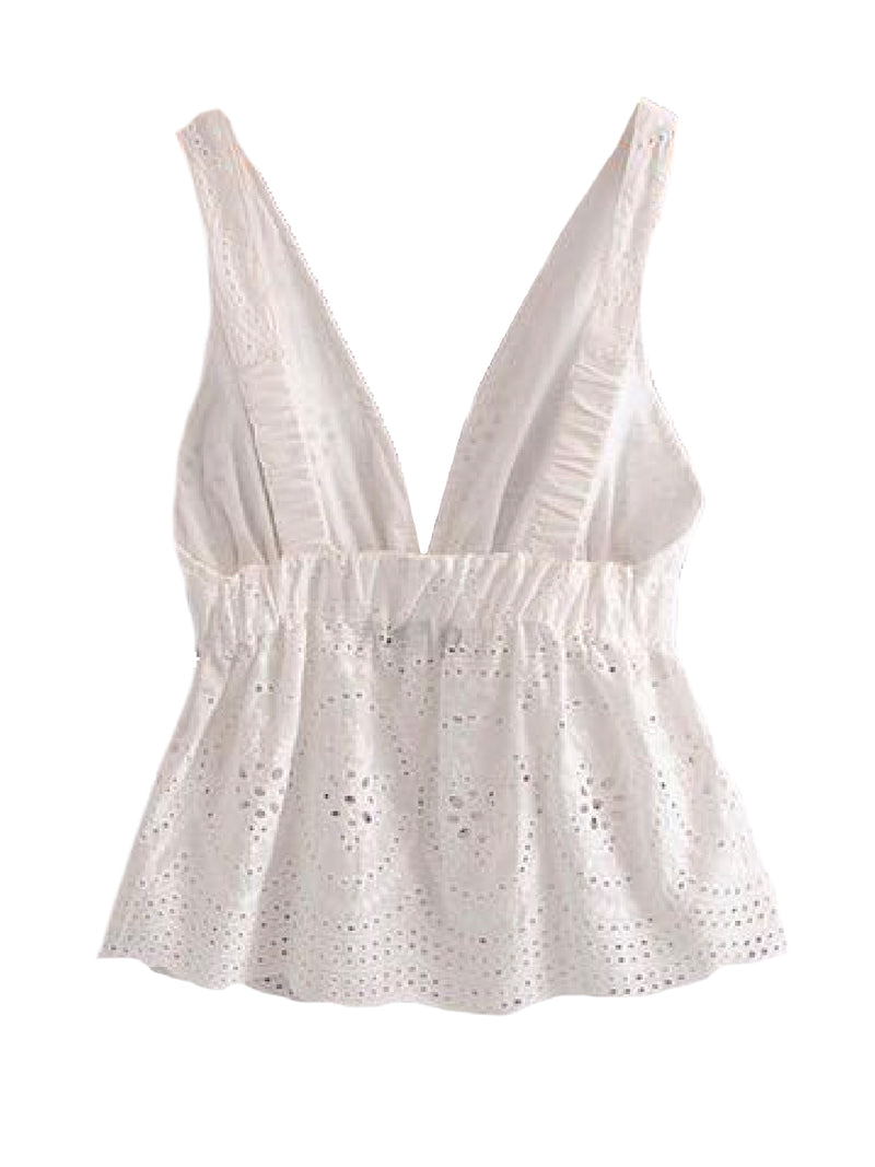 Goodnight Macaroon 'Cadee' Sleeveless Broderie Anglaise Frill Top Back