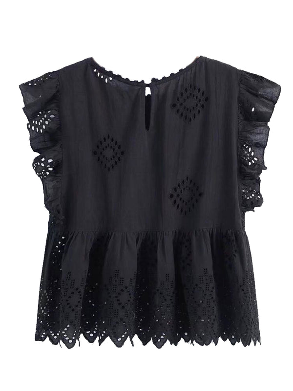 Goodnight Macaroon 'Felicia' Black Broderie Anglaise Ruffle Sleeve Peplum Top Back