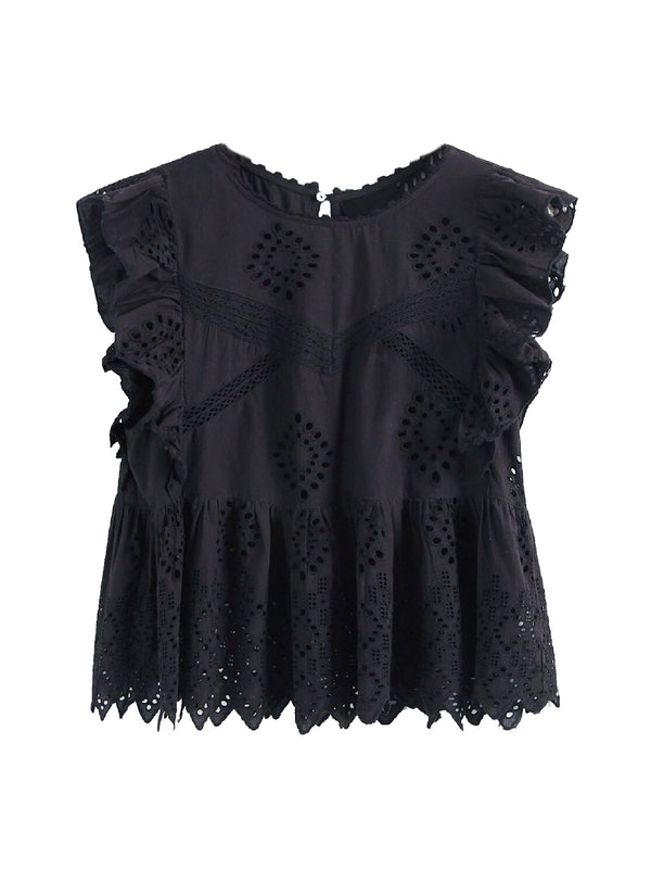 Goodnight Macaroon 'Felicia' Black Broderie Anglaise Ruffle Sleeve Peplum Top Front