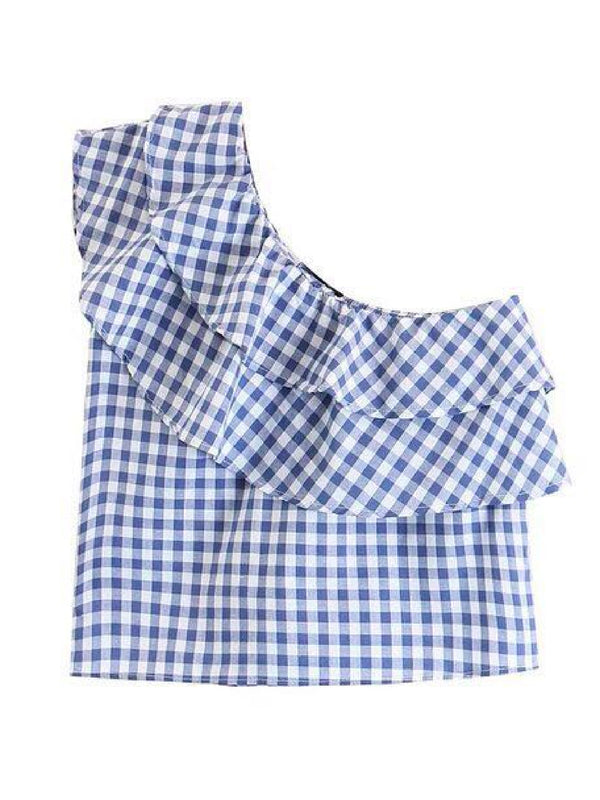 Goodnight Macaroon 'Jeana' Gingham Asymmetric Ruffle Cold Shoulder Top Front